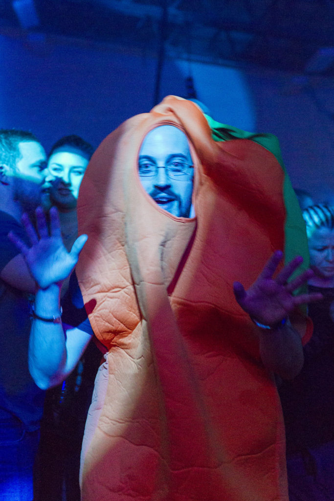 People in costumes are also a recurrent in Above & Beyond's presentations. He came as a carrot.