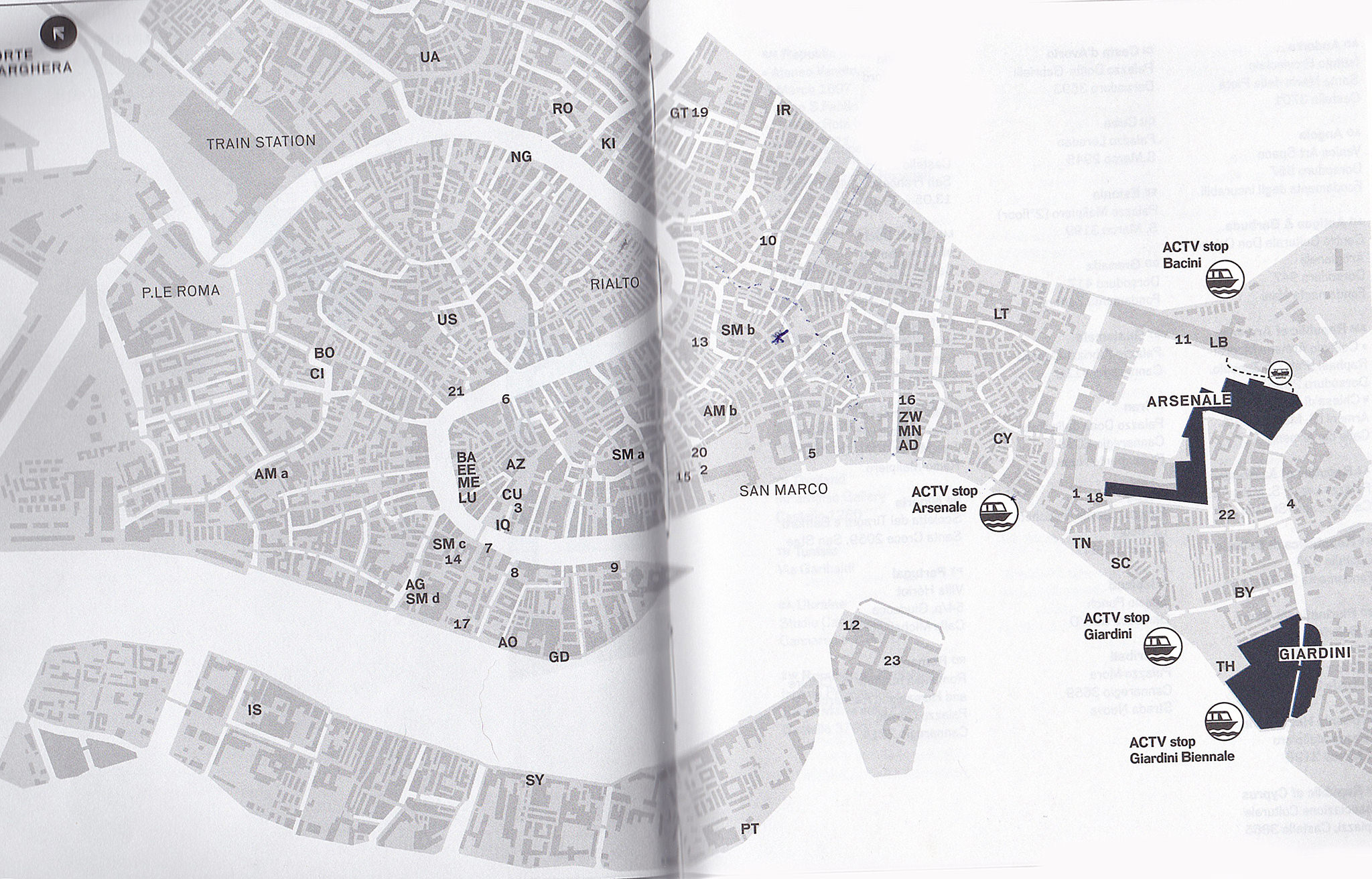 Map of collateral Venice Biennale exhibitions
