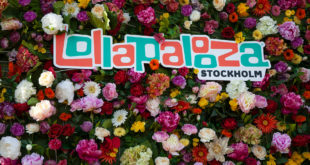 Lollapalooza Stockholm sign flowers